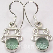 925 Pure Silver Sparkling APATITE Fashionable NEW EXTRA ORDINARY Earrings 1.3""