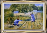 Framed Van Gogh First Steps Repro, Hand Painted Quality Oil Painting 24x36in