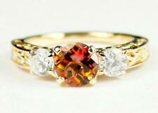 10K or 14K Gold Ladies Engagement Ring, Twilight Fire Topaz w/ Accents, R254