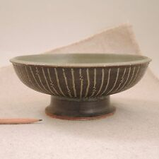Raul Coronel Ceramic Compote Incised Planter Bowl 1950s Los Angeles Pottery MCM