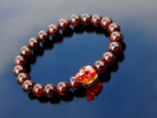 Men's Garnet Skull Bracelet with Swarovski Red Crystal 6-9inch Elasticated
