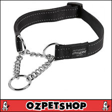 ROGZ Utility Snake Obedience Dog Collar for Medium Dogs Black Reflective Safety