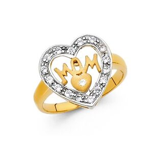 CZ Mom Ring Solid 14k White Yellow Gold Heart in Heart Band Mothers Day Style