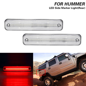 2x Clear Led Rear Red Side Marker Light Turn Signal Lamp For Hummer H2 2003-2009