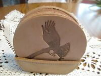 Wildgoose   Set of 8   Leather Coasters with Leather Holder  -   Made in Texas