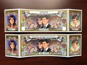 ERROR Belize 1986 SC #833 Inverted Black Inscription Strip Royal Wedding Mint NH