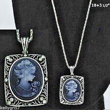CAMEO BEAUTIFUL GRAY-BLUE VICTORIAN LADY DECO RETRO VINTAGE-LOOK NECKLACE #273-C