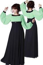 Abendkleid Ballkleid lang mit Ärmel Farbe Apfelgrün - Schwarz Gr 52,54 Neu