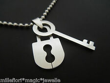 """40mm Stainless Steel Lock & Key Pendant With 30"""" Stainless Steel Ball Chain"""