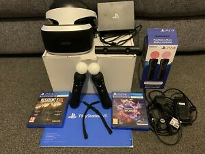 Sony PlayStation 4 (PS 4) VR Headset (V2), 2x Move Controllers, Camera, 2 Games