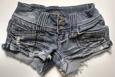Almost Famous Distressed Low Rise Denim Jean Shorts Juniors Size 1