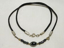 "HEMATITE GEMSTONE CHOKER NECKLACE 45CM SILVER PLATED ""NEW"" AUZ MADE CH6"