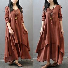 Sexy Women Peasant Ethnic Boho Cotton Linen Long Sleeve Maxi Dress Gypsy Dresses
