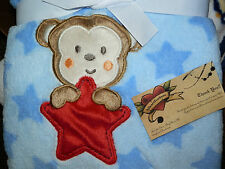 BABY STARTERS BLANKET MONKEY STARS BLUE RED BROWN JUNGLE ALL PURPOSE NEW BOY