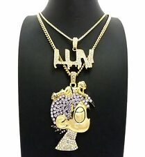 "ICED OUT PAVE LIL UZI VERT CARTOON & LUV PENDANT W/ 24"" 30"" CHAIN NECKLACE SET"
