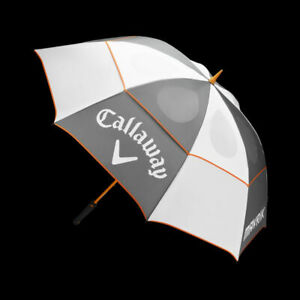 "Callaway Mavrik Double Canopy Umbrella (White/Charcoal/Orange, 68"") Golf NEW"