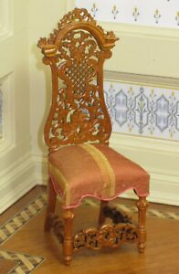 Bespaq Ltd Edition New Walnut Carved Back Upholstered Chair Dollhouse Miniature