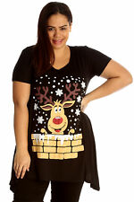 Womens Top Plus Size Ladies Rudolph Reindeer Christmas T-shirt Tunic Black 26-28