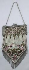 Vintage-Mandalian Mfg. Co.-Art Deco-Metal Mesh Fringed-Enameled Evening Purse