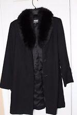 NWOT J.PERCYfor Marvin Richards black wool trench coat genuine fox fur collar 4P