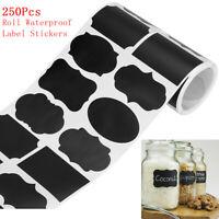 250Pcs/Roll Waterproof Chalkboard Stickers Kitchen Bottle Label Blackboard LaRUH