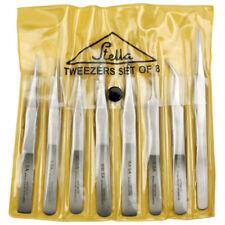 Tweezers- Set 8 Stainless Steel Non Magnetic Vinyl Case