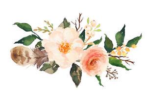 Pastel rose sticker floral wreath die-cut decal // feathers wildflowers boho art
