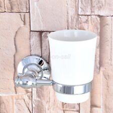 Chrome Brass Bathroom Wall Mount Toothbrush Holder w/ Single Ceramic Cup aba791