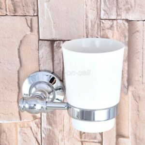 Chrome Brass Bathroom Wall Mount Toothbrush Holder w/ Single Ceramic Cup aba791