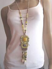 Modekette Bettelkette Damen Hals Kette lang Silber Gelb Perlen Ethno Ibiza Boho