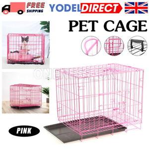 "UK Dog Cage Puppy Pet Crate Carrier Cages Door Pink Medium - 30"""