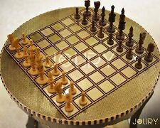 Chess Table - Chess Board- Round Table - wooden chess board - Mosaic - Marquetry