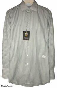 Thomas Pink Mens Sz 15.5/34 Long Sleeve White Dress Shirt Green/Blue Stripes NWT
