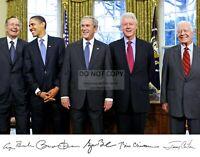 GEORGE W. BUSH BARACK OBAMA & OTHER PRESIDENTS w/ SIGNATURES 11X14 PHOTO (WW038)