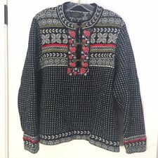 Icelandic Design womens sweater size XL pullover black wool embroidered wool