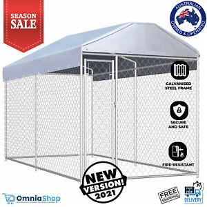 Dog Run Enclosure Chicken Cage Coop House Cat Hen Rabbit Hutch Ferret 3.8 x 1.9m