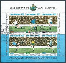 1990 SAN MARINO USATO FOGLIETTO MONDIALI DI CALCIO ITALIA ANNULLO FDC - VA25