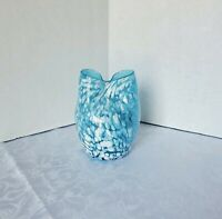 Vintage Turquoise/White Speckled Hand-blown Art Glass Double Bud Vase