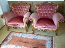Vintage Pair Of Pink Elegant Tufted Velvet Arm Chairs