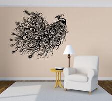 Vinyl Sticker Tail Peacock Peafowl Bird Zoo Big Mural Decal Wall Art Decor hi339
