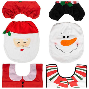 3PCS CHRISTMAS BATHROOM TOILET SEAT COVER SET SANTA/SNOW MAN RED WHITE