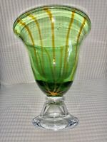 Gorgeous Designs-Antique Green Glass Vase-NEVER USED! With Sticker