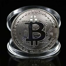 Silver Bitcoin Commemorative Round Collectors Coin Bit Coin is Gold Plated Coins
