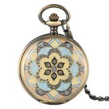 Lady Vintage Pocket Watch Chain Fob Marble Line EpoxyFlower Pendant Pocket Watch