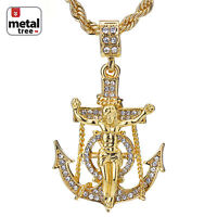 "Men's Hip Hop 14K Gold Plated Anchor Jesus Cross Pendant 24"" Rope Chain Necklace"