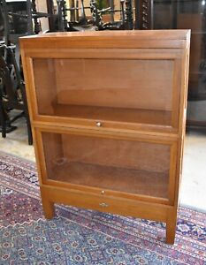 Mid Century Blond Barrister Lawyer's Bookcase, Globe Wernicke Display Cabinet