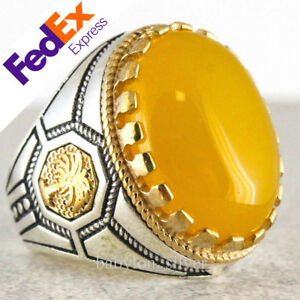 Natural Yellow Agate 925 Sterling Silver Turkish Handmade Men's Ring All Sizes
