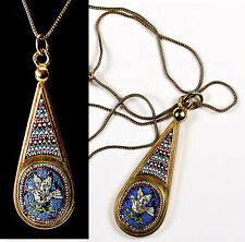 Fab Antique 18k Gold Etruscan Micro Mosaic Drop Pendant, Micromosaic Dove