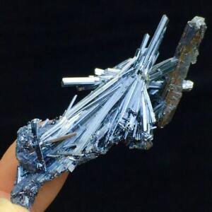 11g Rare Bright Shiny Columnar Stibnite Crystal Cluster Mineral Specimen/China