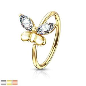 CZ Butterfly Bendable Nose Hoop Cartilage Ring
